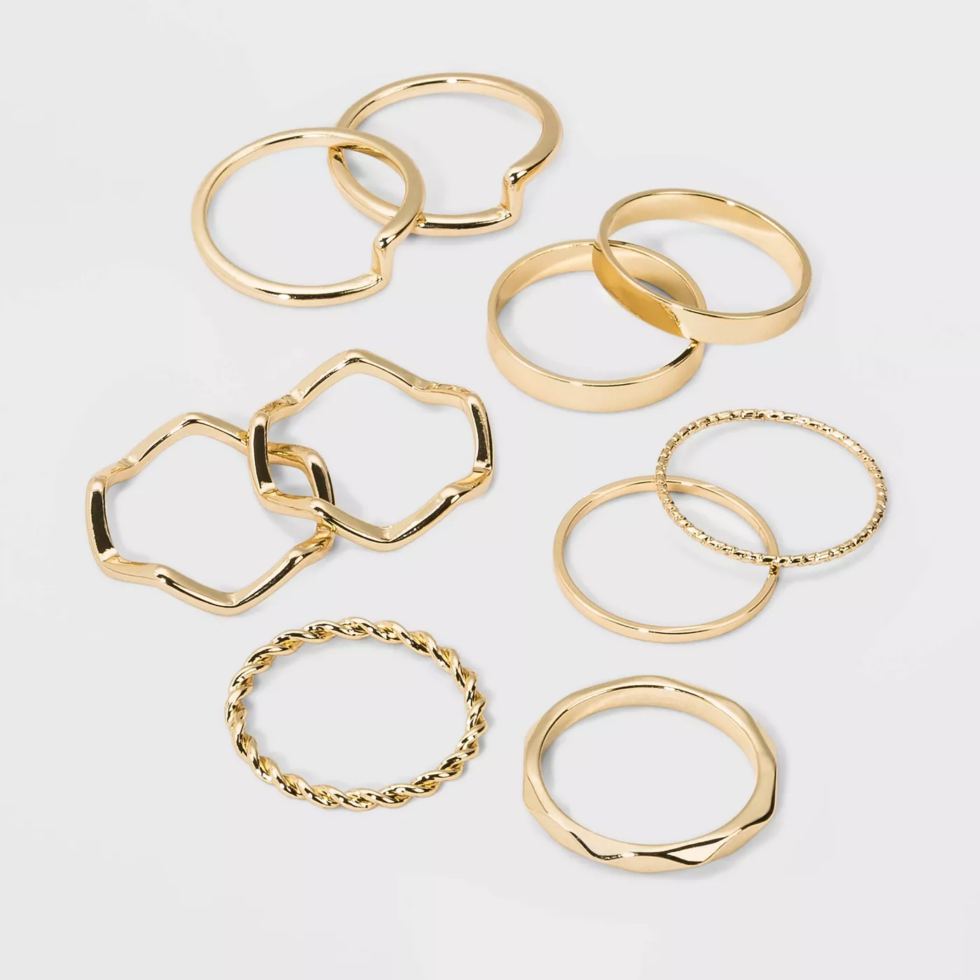WILD FABLE Casted Metal Multi Ring Set 10pc  Gold