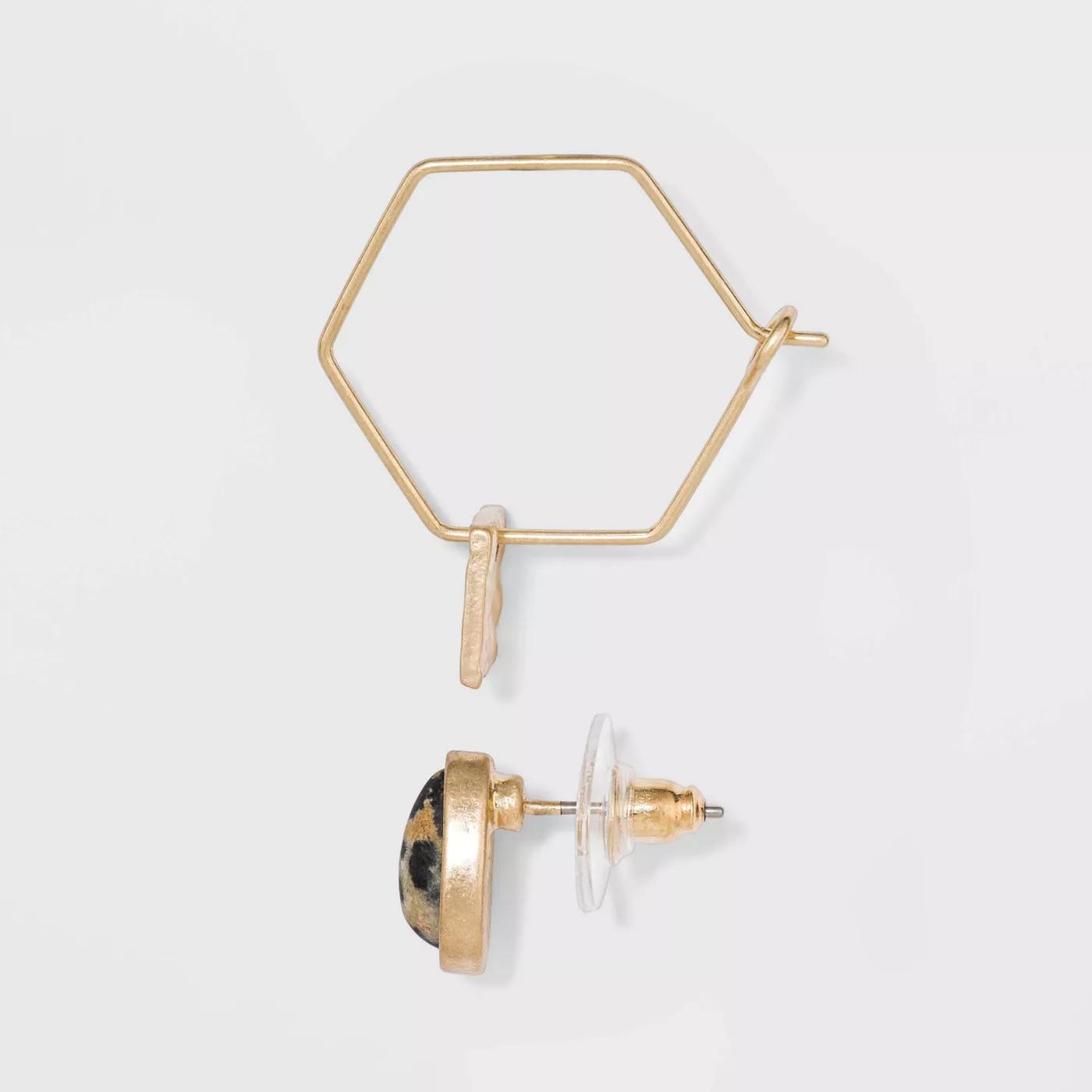 UNIVERSAL THREAD SemiPrecious Brown Lip Shell & Jasper Multi Earring Set 8pc