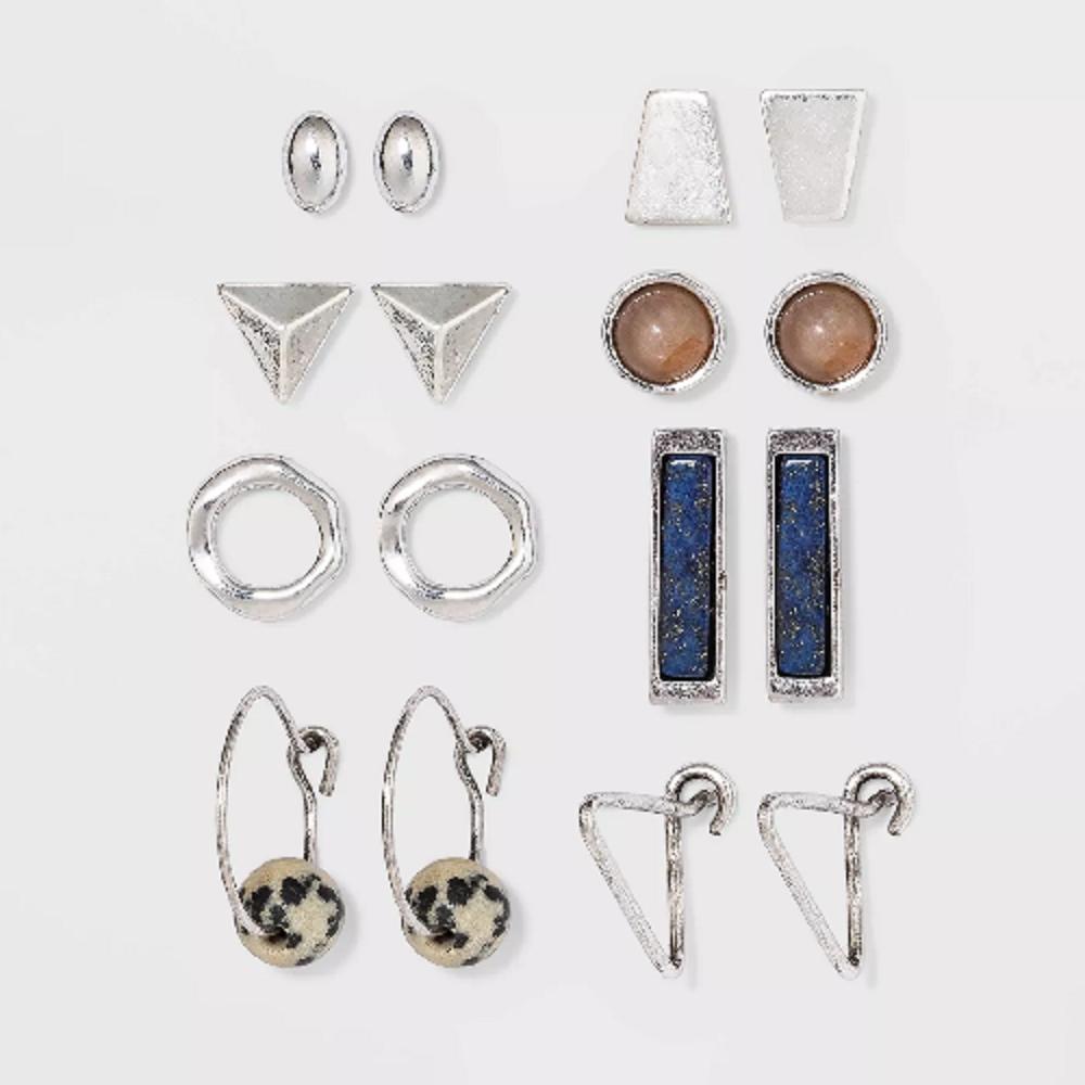 UNIVERSAL THREAD SemiPrecious Moonstone & Jasper Multi Earring Set 8pc