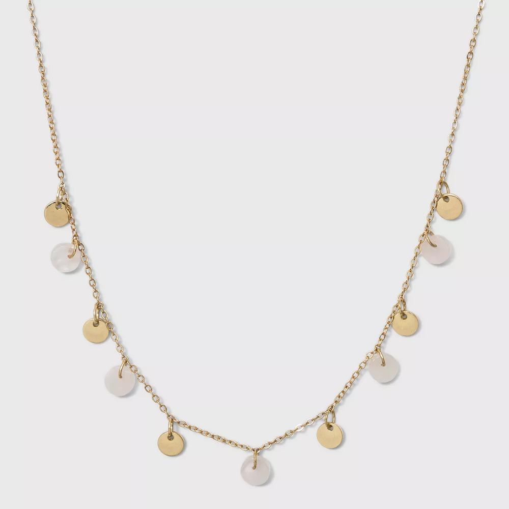 UNIVERSAL THREAD Semi Precious Short Delicate Charm Disc Necklace  Light Gold