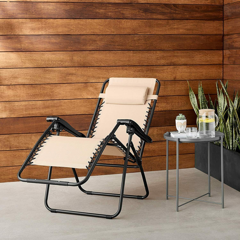 AMAZONBASICS  Outdoor Zero Gravity Lounge Folding Chair, Beige