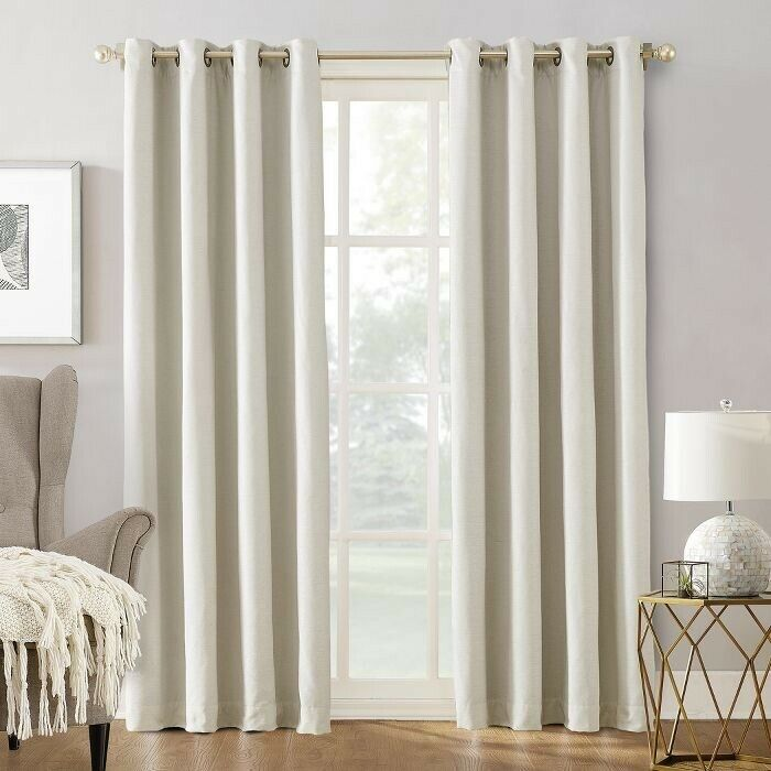 SUN ZERO Manor Chenille Theater Grade Extreme 100% Blackout 63Inch Grommet Curtain Panel in Ivory