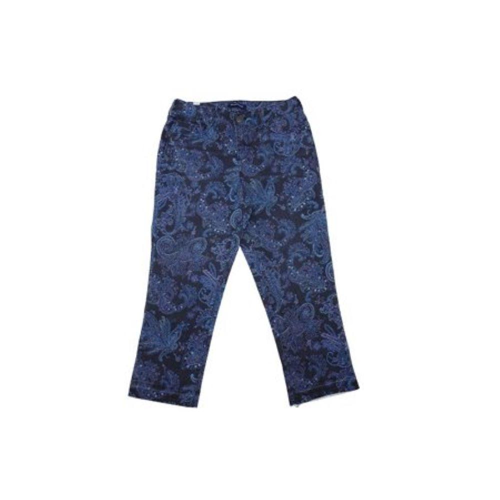 BANDOLINOWomen's Size 4 Curvy Straight Capri Fray Cuff Millie Pant, Majestic Blue