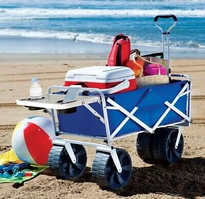 MAC SPORTS Collapsible Outdoor Utility Wagon with Folding Table In Blue White