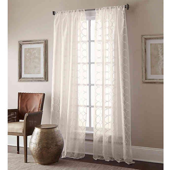 MANHATTAN Sheer 84Inch Rod Pocket Window Curtain Panel in Ivory