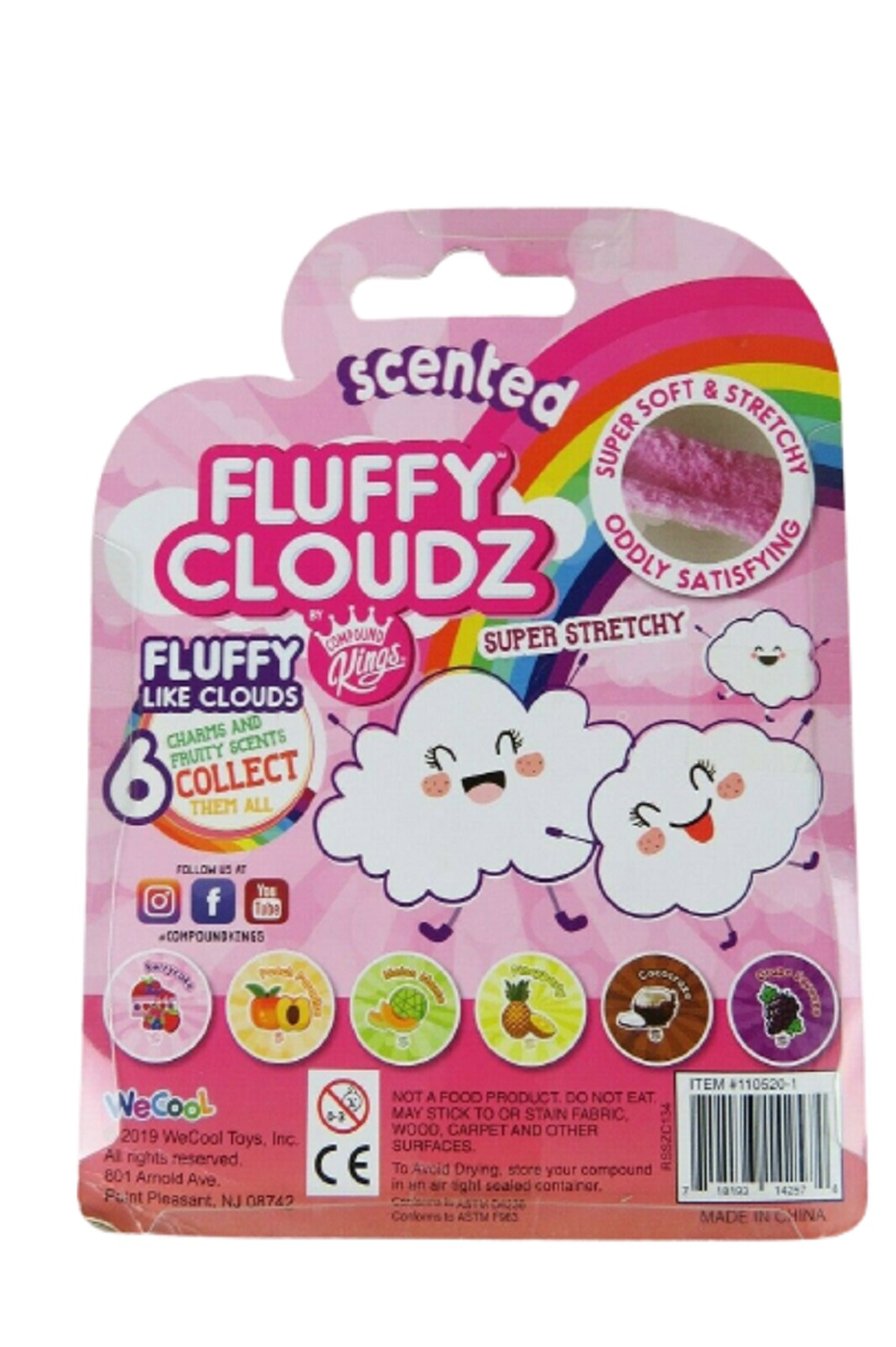 COMPOUND KINGS Slime Fluffy Cloudz Scented 3 Pack Super Stretchy 8.6 Oz