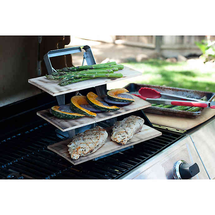 JUST GRILLIN Charcoal Companion Stainless 3 tier Grill Plank Rack With Cedar Planks
