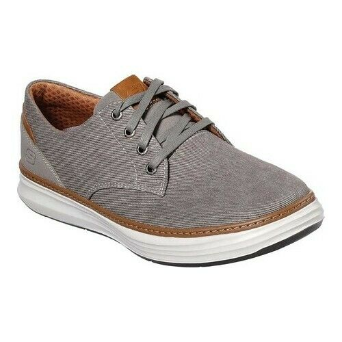 SKECHERS Men's Moreno Ederson 65981/TPE Canvas Oxford Shoes Size 9.5 in Taupe
