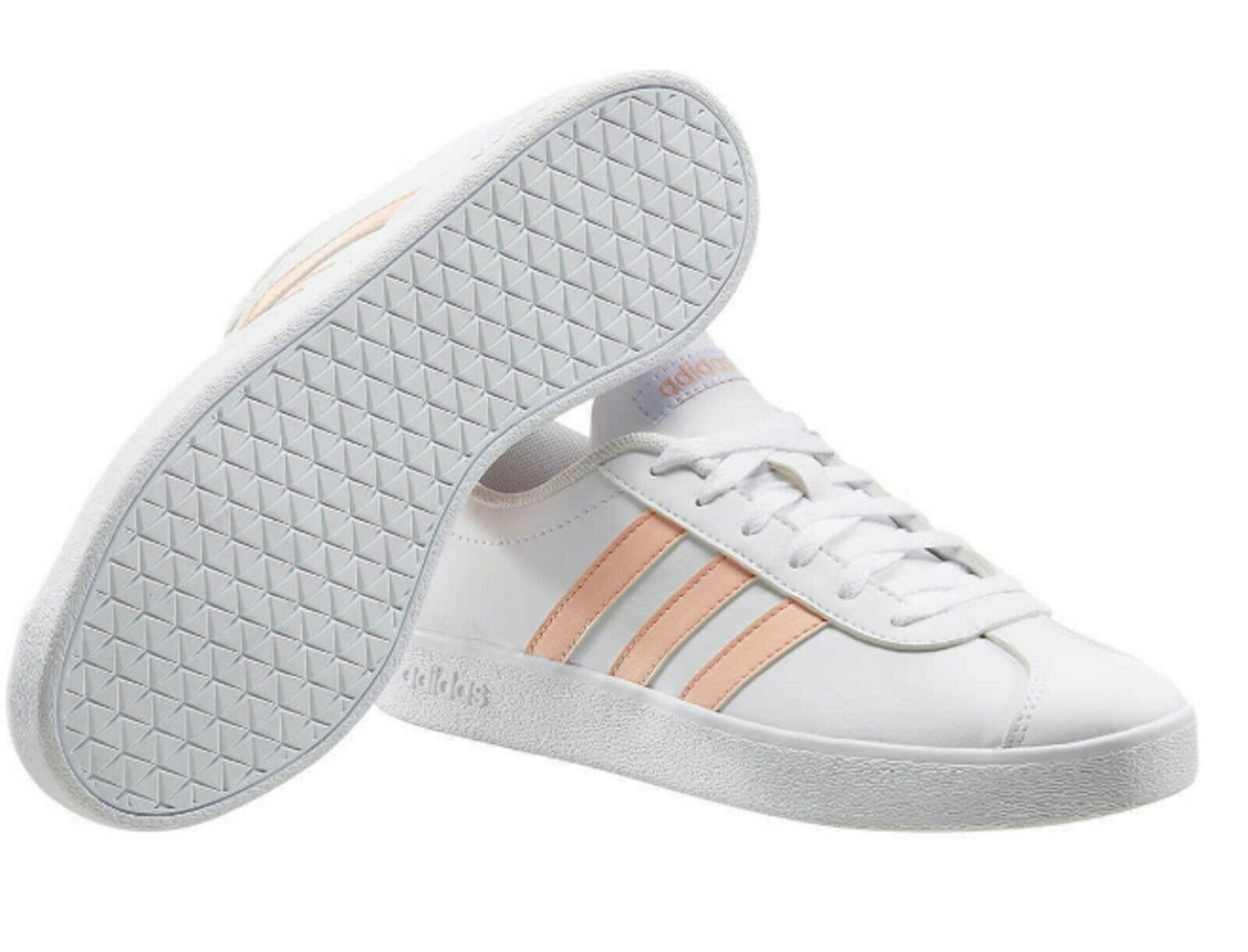 Adidas Kids Girls VL Court 2.0 Running Sneakers in White/Pink Size 12K