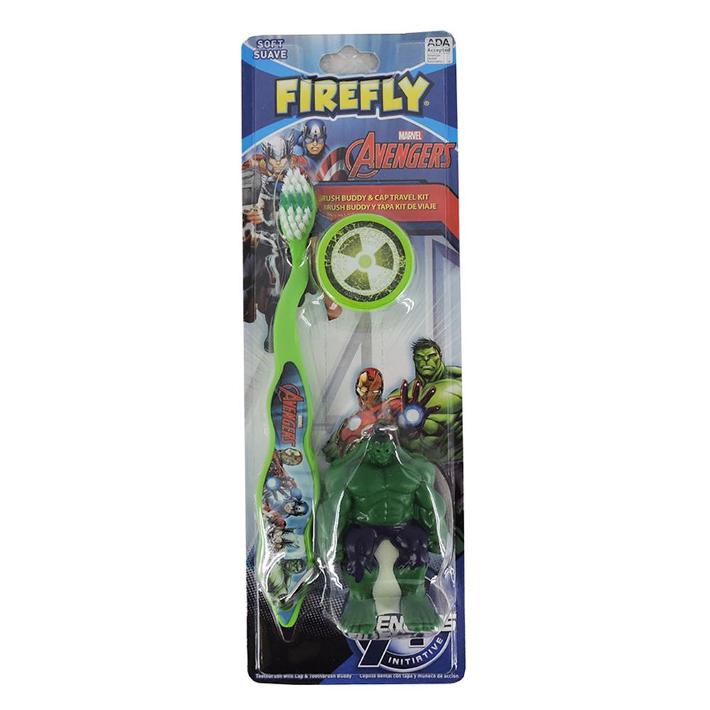 FIRELY Marvel Avengers Brush Buddy with Cap Travel Kit (Hulk or Iron Man)