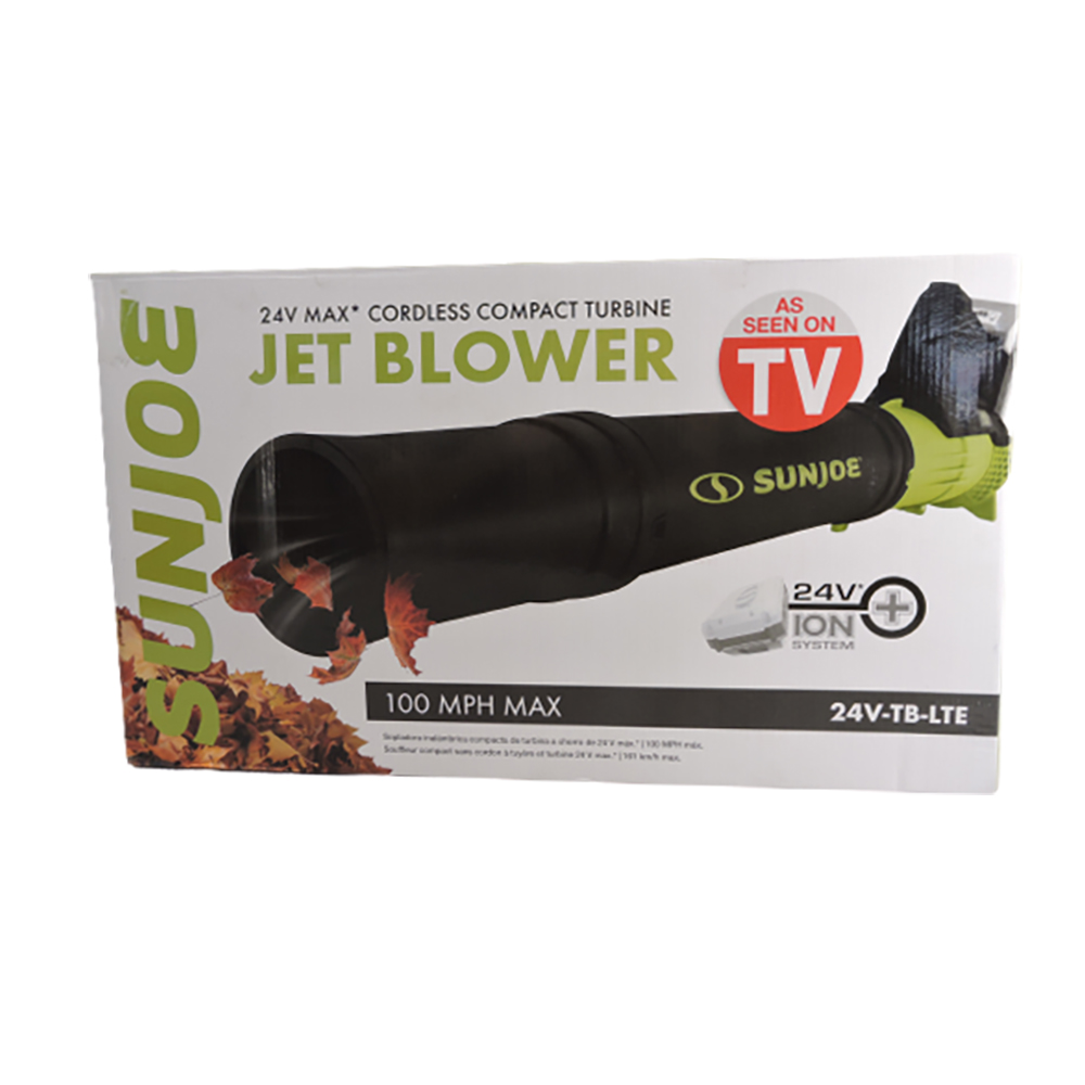 Sun Joe 24VTBLTE 24Volt iON+ Cordless Compact Turbine Jet Blower Kit, 100MPH