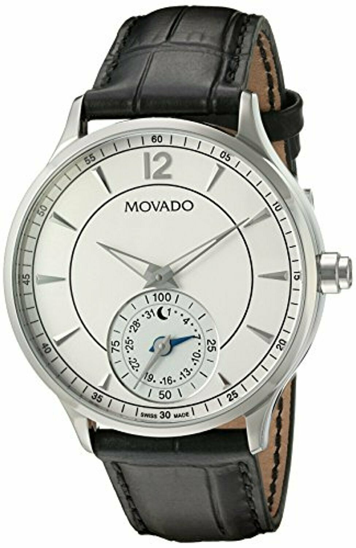 MOVADO 0660007 Men's Black Leather Strap Beige Dial Smartwatch