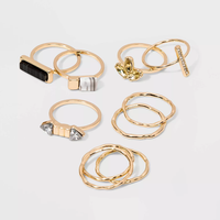 WILD FABLE Shiny and Worn Gold with Acrylic Stone Multi Ring Pack