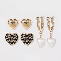 WILD FABLE Acrylic, Shiny Gold Trio Earring Set 3pc