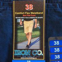 IRON Co. Mens Comfort Flex Waistband Bari Flat Front Short In Indigo, 38