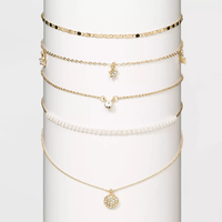 WILD FABLE Crystal Acrylic Stones White Pearls Multi Necklace Set  Gold
