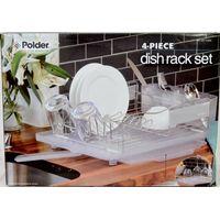 Polder Stainless Steel 4 Piece Dish Rack Set