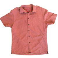 Woody's Men's Retro Lounge Short Sleeve Woven Shirt (XXLarge, Rust)