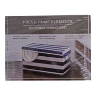 FRESH HOME ELEMENTS COLLAPSIBLE 30'' STORAGE CHEST IN GREY STRIPES