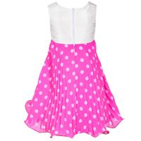 Jessica Ann Girl's White Dots Party Dress In Fuchsia, Size 6X