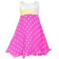 Jessica Ann Crystal Pleated Dress In Fuchsia, Size 2T