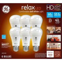 GE HD Soft White 60W Replacement LED Light Bulb A19 (6pack)