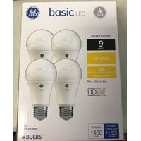 GE Soft White Basic 100W Replacement LED Light Bulbs General Purpose A19 (4pack)
