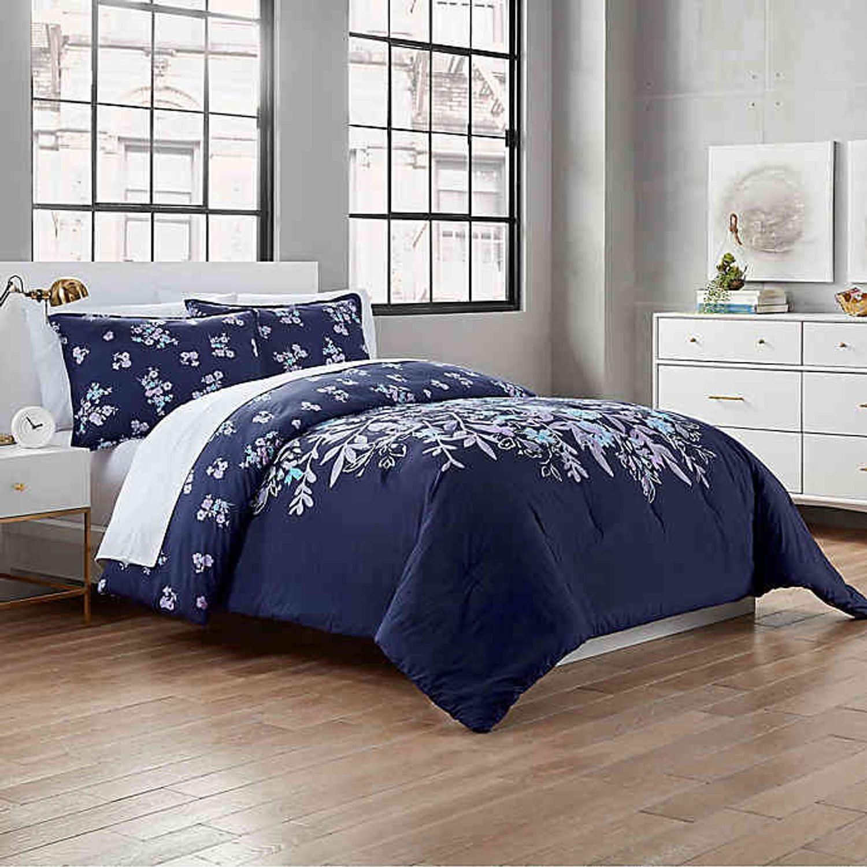 Garment Washed Linnea 2 Piece Reversible Twin Twin Xl Comforter Set In Navy