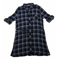 BLL NYC Tie Front Flannel Dress In Blue Plaid XXL