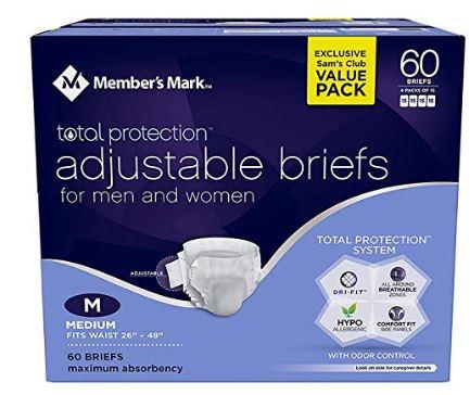 Member's Mark Total Protection Adult Briefs for Men  Medium