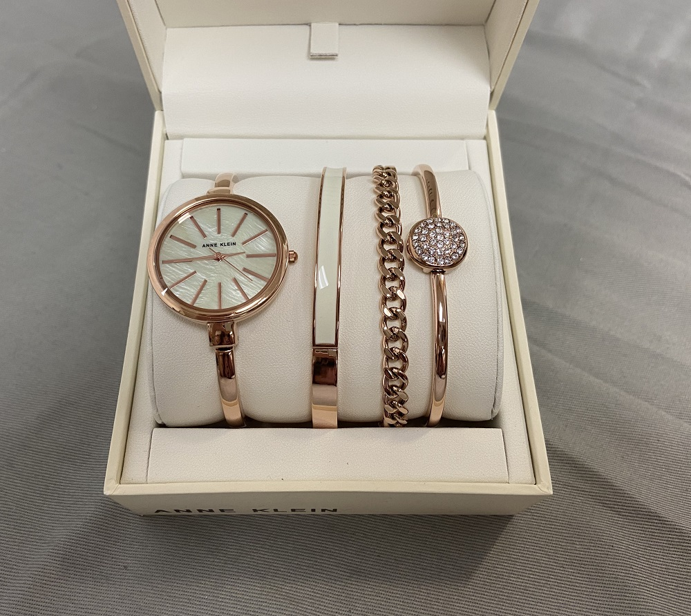 Anne Klein Women's Rose Goldtone Watch and Bracelet Set Watch AK1470RGST