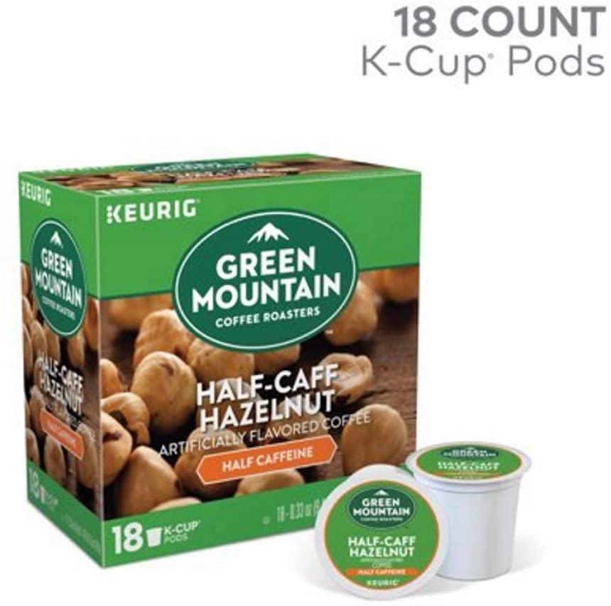 GREEN MOUNTAIN COFFEE HalfCaff Hazelnut Coffee Keurig KCup Pods 18Count