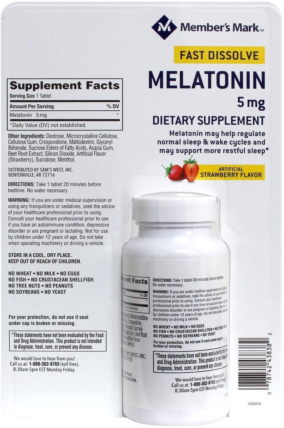 MEMBER'S MARK Melatonin 5mg Fast Dissolve (260 ct.)