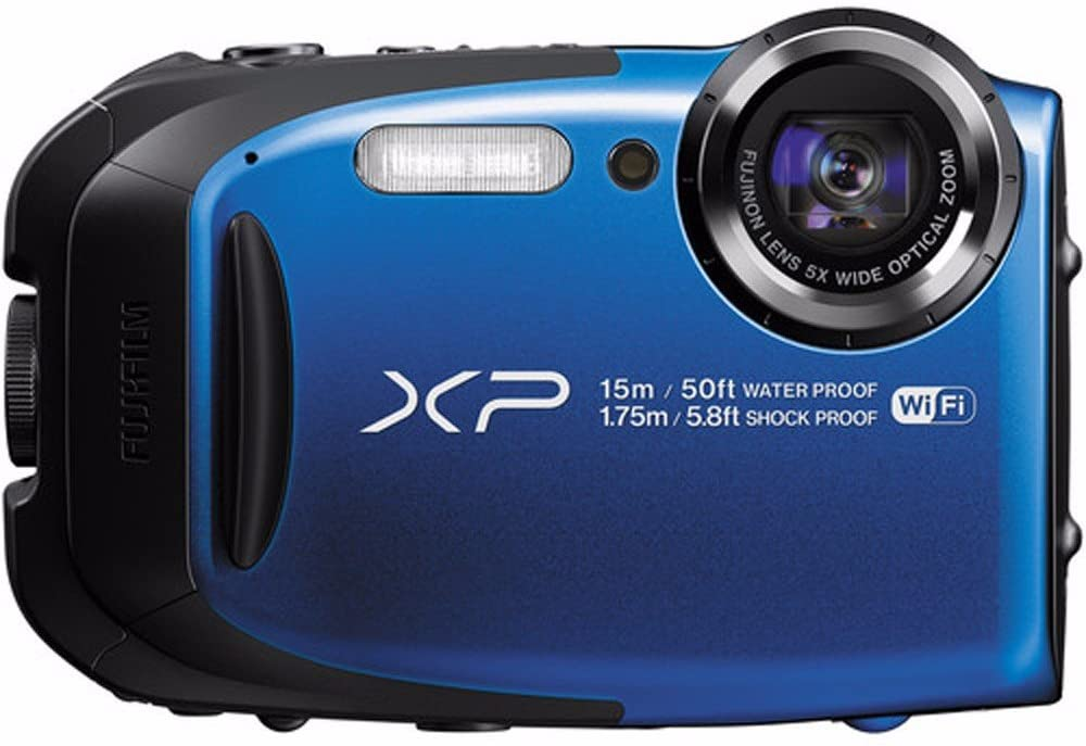 FUJIFILM FinePix XP80 16.4MP CMOS Waterproof Digital Camera Bundle with Action Case, and 16GB SDHC Card in Blue