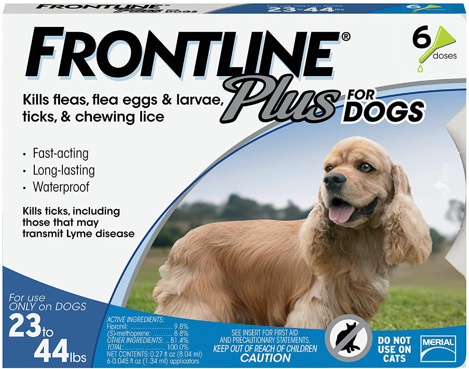 Frontline Plus Flea, Tick and Lice Control for Dogs 23 to 44 lbs, 6 doses