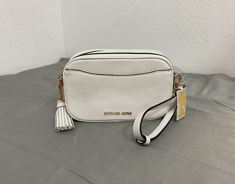 Michael Kors Crossbody Leather Camera Bag in Optic White