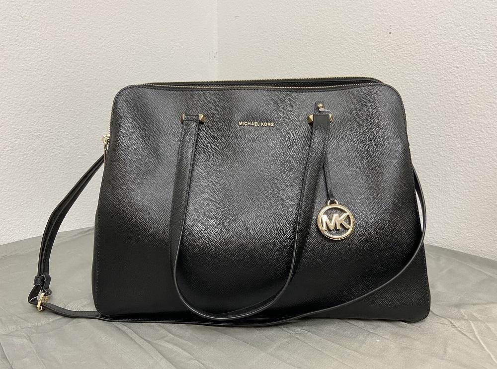 Michael Kors Women's Houston Crossgrain XL Leather Tote Bag  Black