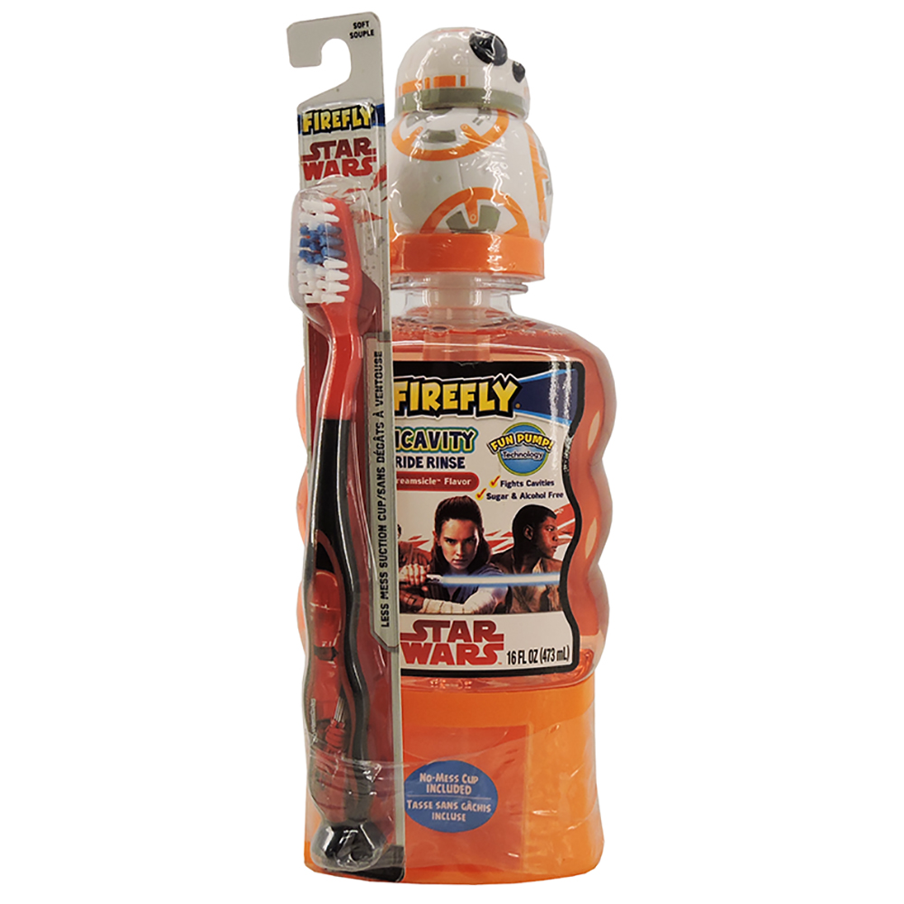 Firefly Star Wars Orange Creamsicle Flavor Anticavity Fluoride Rinse with Toothbrush 16 fl. oz