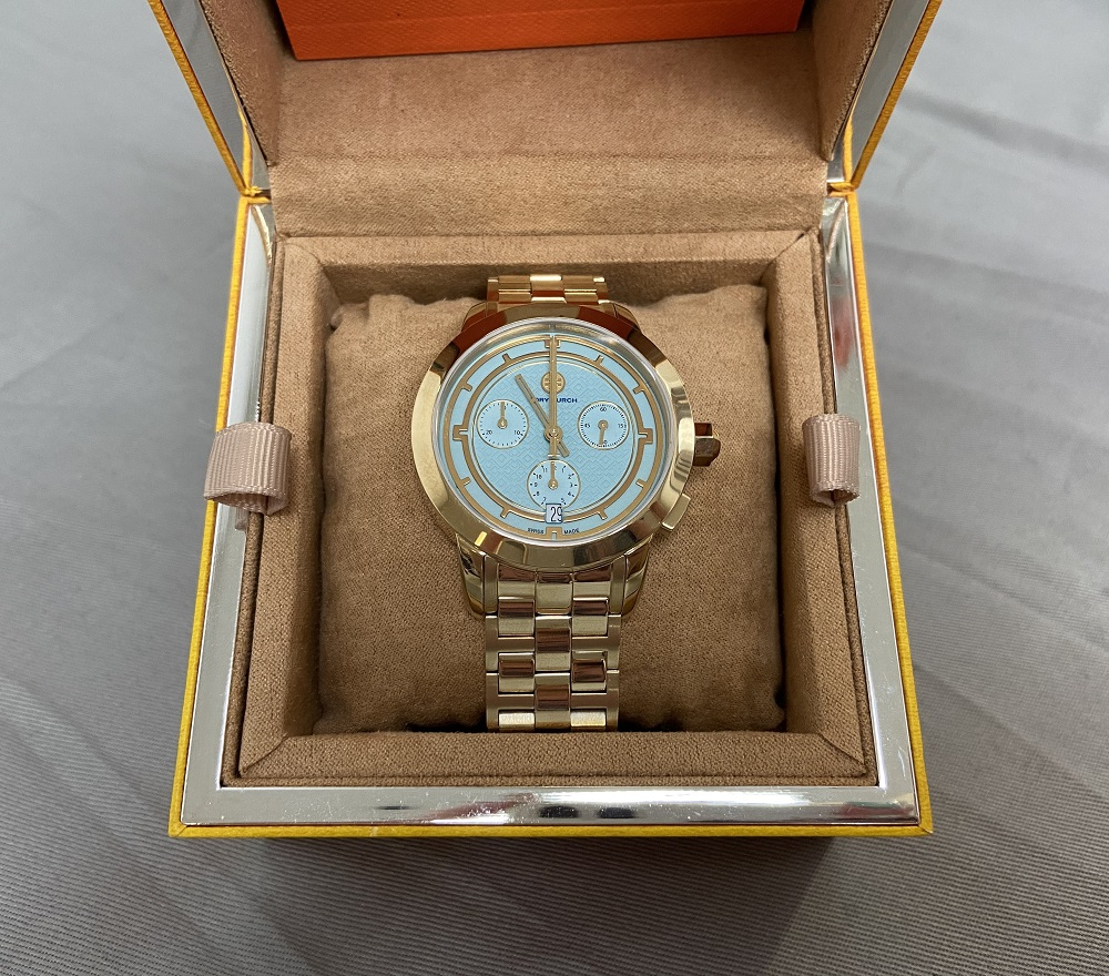Tory Burch 38mm Women's Chronograph Bracelet Watch  Light Blue (TRB1021)