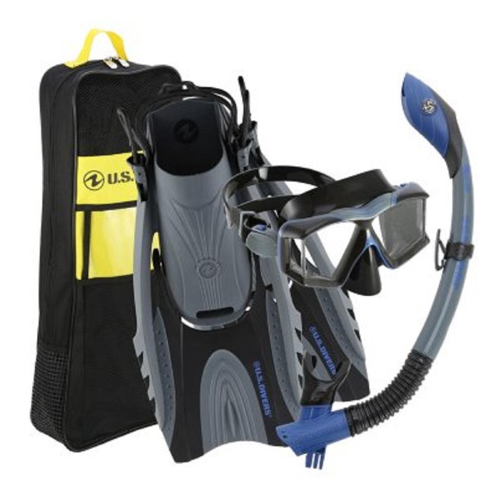 U.S. Divers Adult Premium Snorkel Set in Dark Blue/ Grey, Size SM/MD