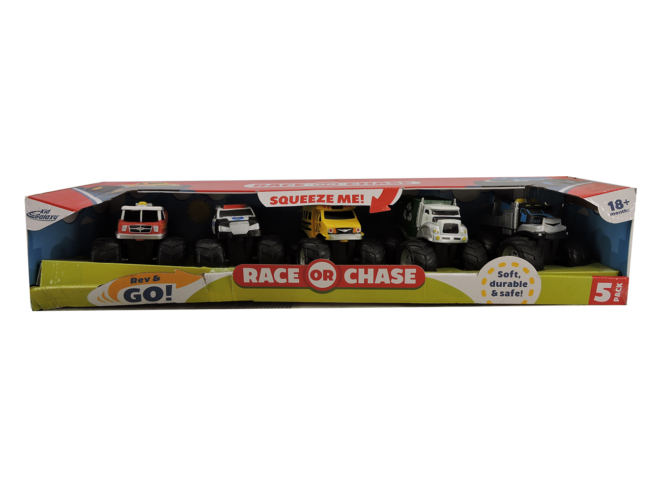 Kid Galaxy Squeeze Me Race or Chase 5 Pack Vehicle
