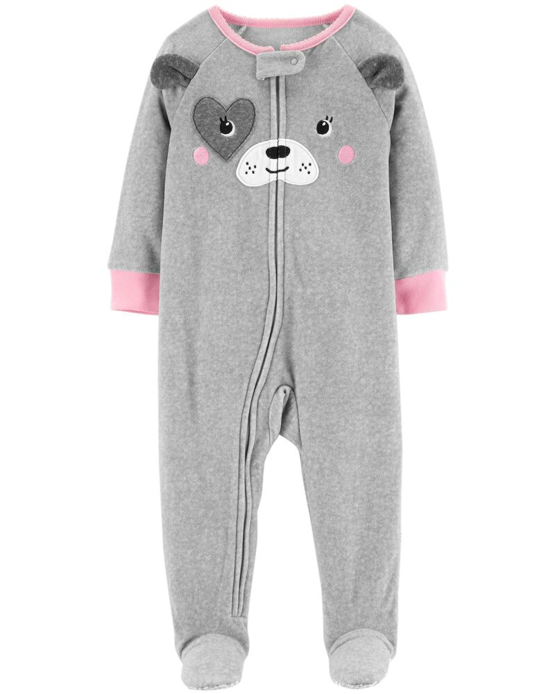Carter's Baby Girl 1Piece Dog Fleece PJs in Heather Grey/ Pink, Size 18m