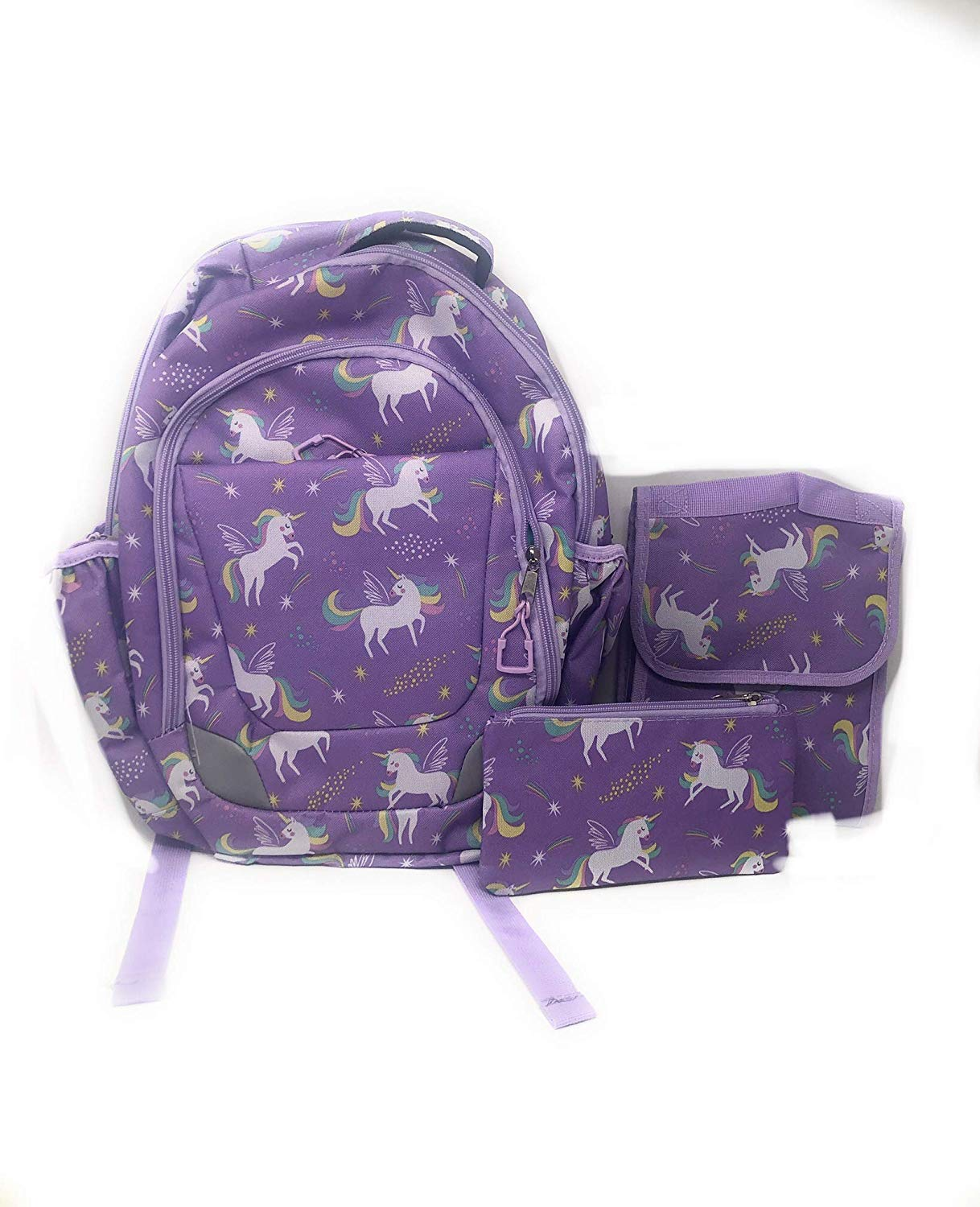 Crckt Youth 3 Piece Backpack Set with Lunch Kit and Matching Pencil Bag in Unicorn