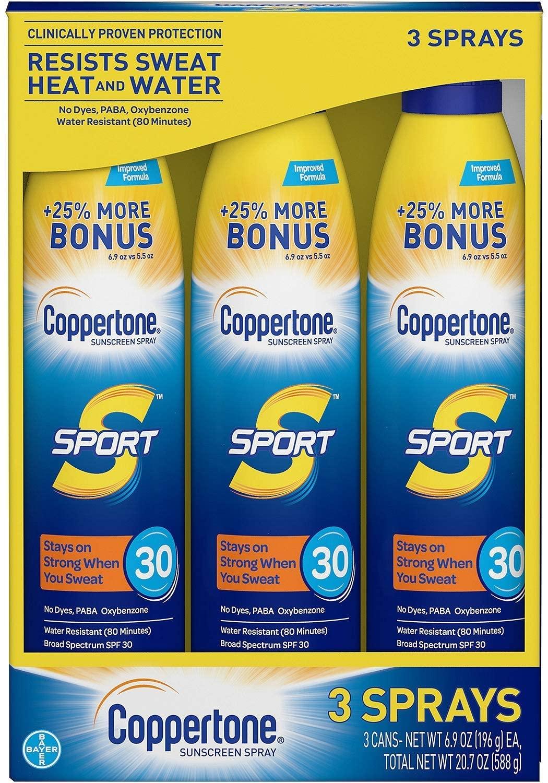 Coppertone Sport Continuous Spray Sunscreen, SPF 30 (6.9 oz., 3 pk.)