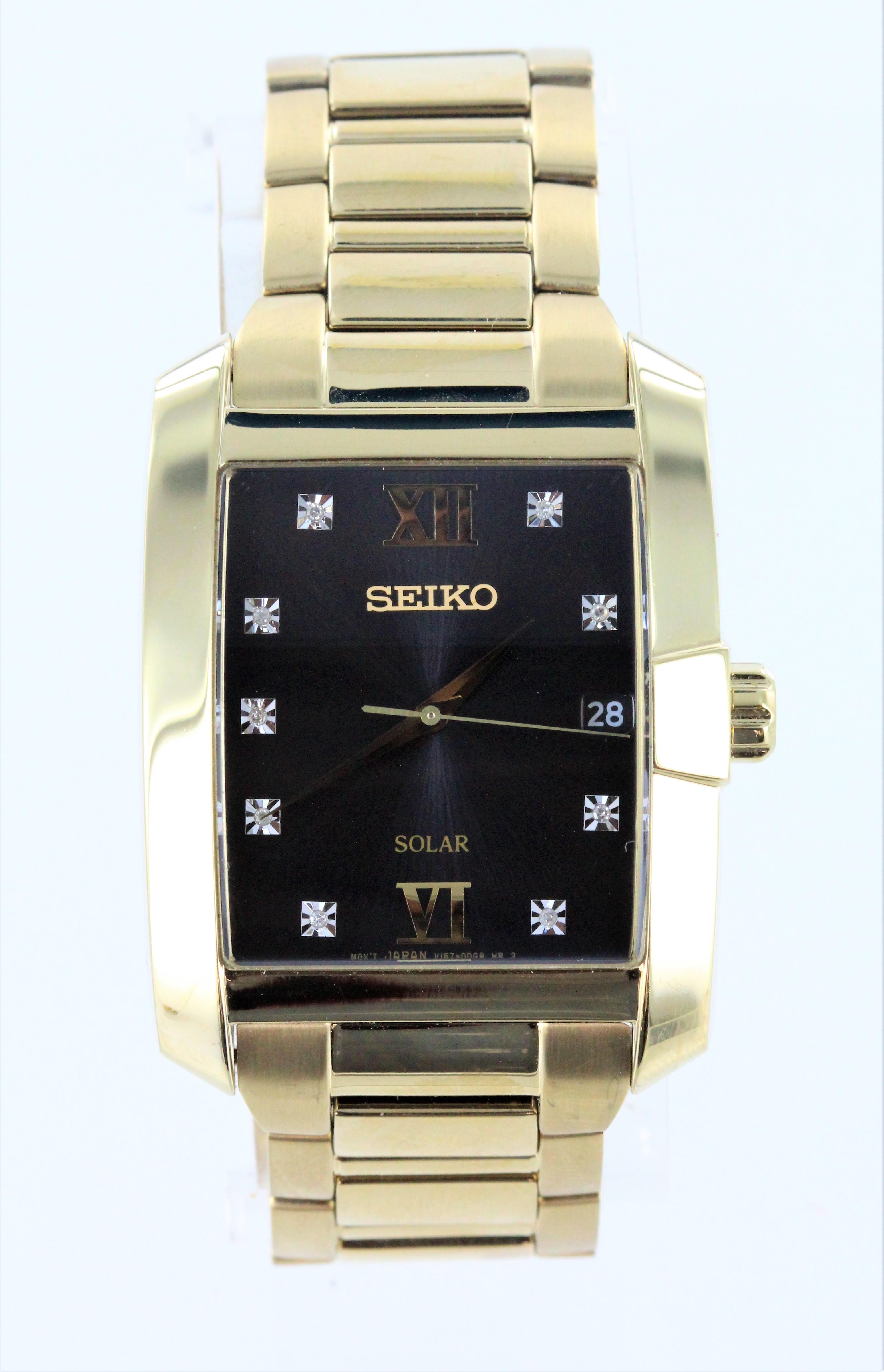 Seiko Men's Diamond Dial Solar Stainless Steel Watch SNE462