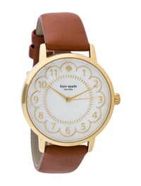 kate spade new york Women's 1YRU0835 Metro GoldTone Watch with Brown Leather Band