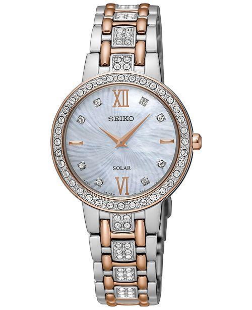 Seiko Women's Solar TwoTone Stainless Steel Bracelet Watch SUP362