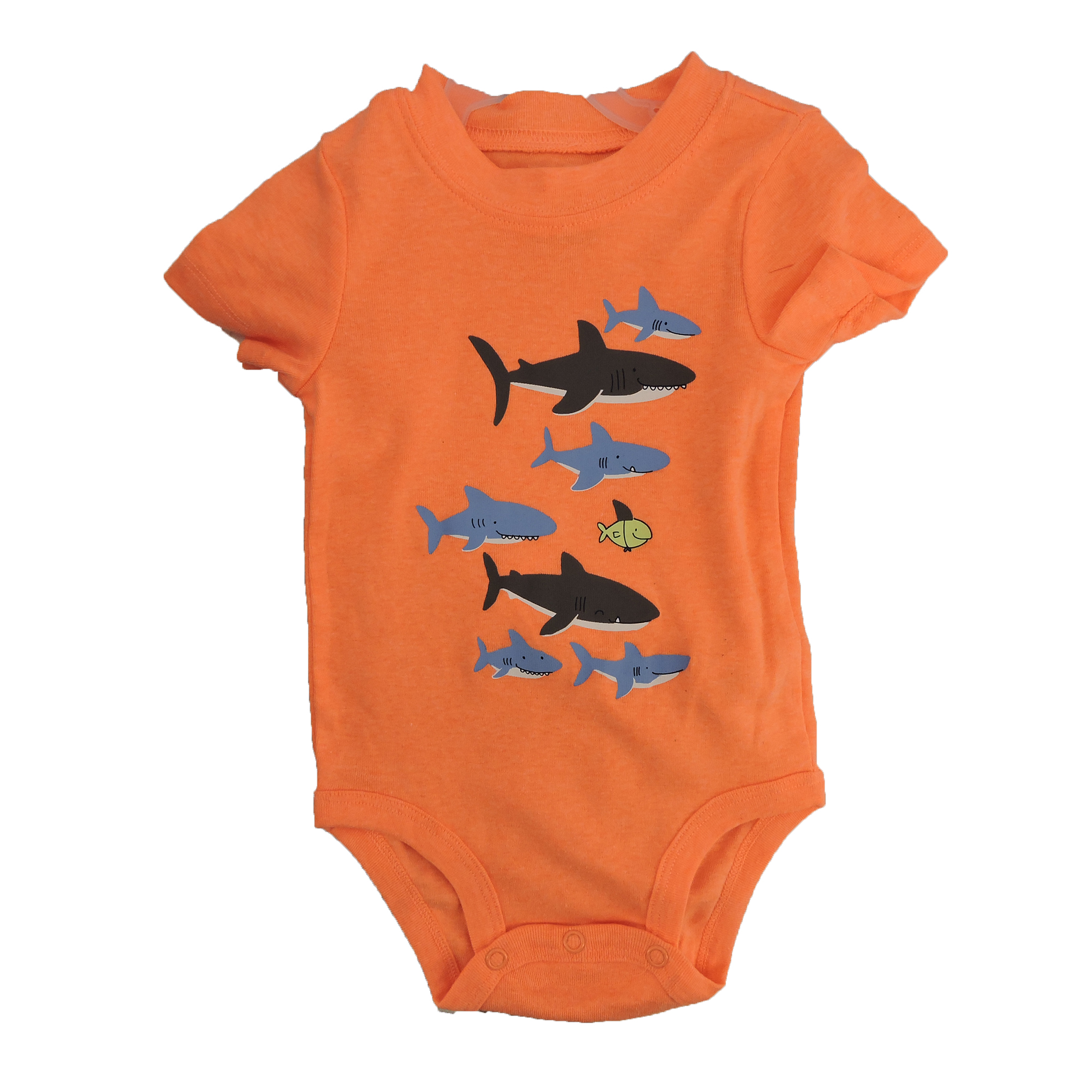 Carter's Baby Shark Bodysuit Pant 3Piece Set In Blue/Neon Orange/Heather