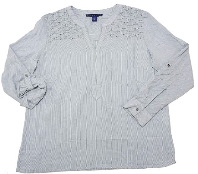Bandolino Womens Roll Tab L/S Beaded VNeck Viscose Blouse Tops in Moody Blue, Size XXLarge