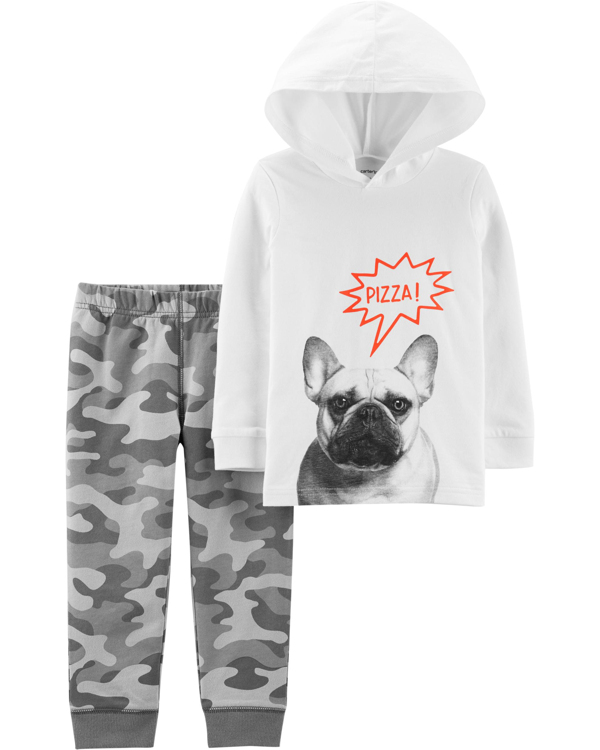 Carters Baby Boy 2Piece French Bulldog Hoodie & Camo Jogger Set in Grey, Size 18M